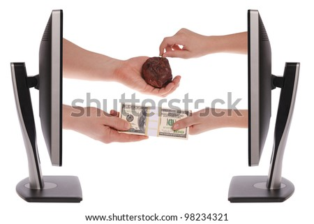 Two computer monitor on white background. Unequal exchange. Money for a bad commodity - stock photo