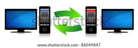 Two computers connected. Computer network. - stock photo