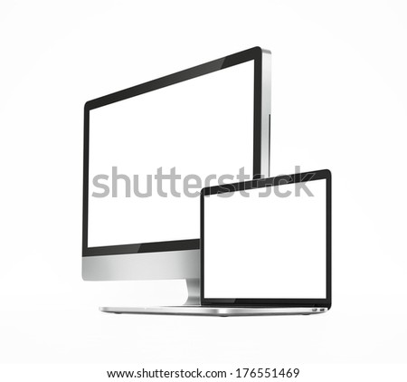 two computers with white screen on a white background isolated - stock photo