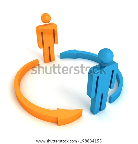 two concept business team people with cycle arrows. partnership relations 3d render illustration - stock photo