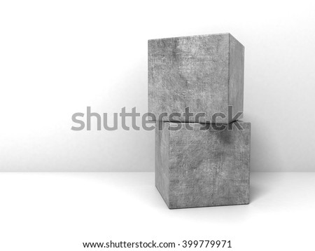 Two Concrete Cubes at White Background. 3D illustration