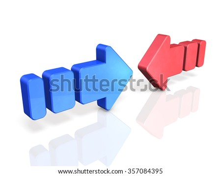 Two conflicting arrows. They are the struggle of two forces. - stock photo
