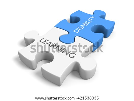 Two connected puzzle pieces with the words learning disability, 3D rendering - stock photo