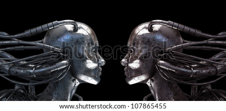Two Connected Robots in profile on the black background - stock photo