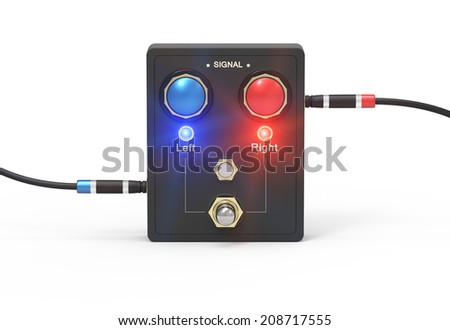 Two connectors is connected to retro audio mixer as concept - stock photo