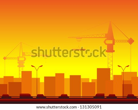 two construction crane in yellow background with transport and many skyscraper - stock photo