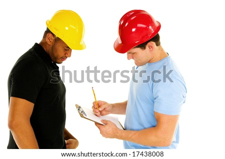 two construction men discuss project