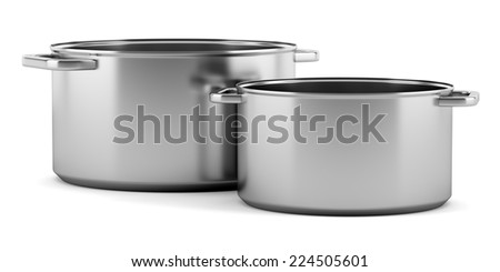 two cooking pans isolated on white background - stock photo