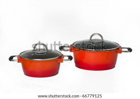 two cooking pots - stock photo