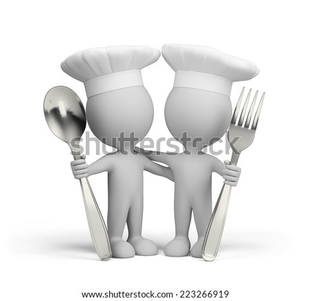 Two cooks with a spoon and fork. 3d image. White background.
