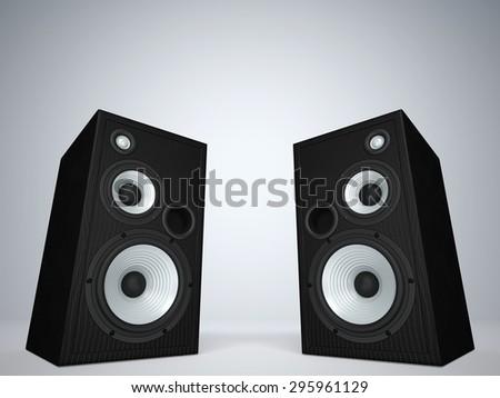 Two cool audio speakers - stock photo