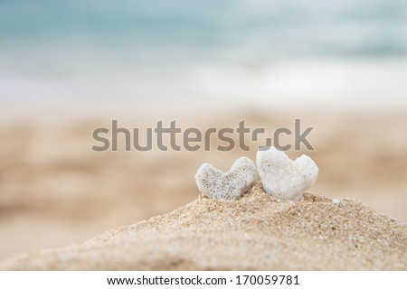 two coral hearts on a beach in Maui, Hawaii - stock photo