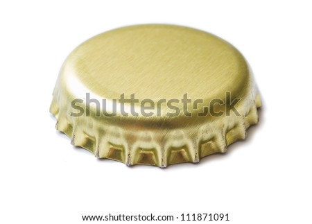 Two corks from beer and lemonade isolated on white background - stock photo