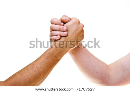 Two coupled hands, isolated on white background - stock photo