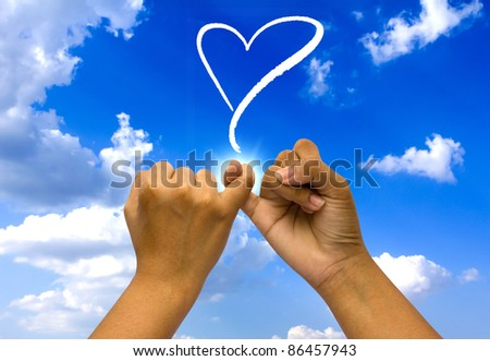 Two coupled hands on blue sky background.