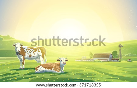 Two cows in a sunrise morning landscape and a farm.