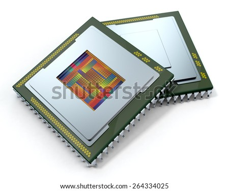 two CPUs on white background, one cpu is without the cover and the circuits are visible (3d render) - stock photo