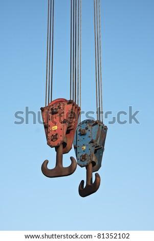 Two crane hooks - stock photo