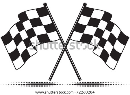 Two crossed checkered flags. Black and white design (gradient free).  Isolated with optional ground shadow. - stock photo