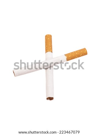 Two Crossed Cigarettes isolated on white - stock photo