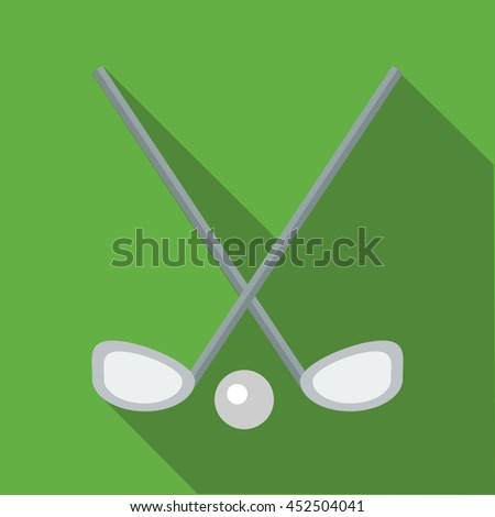 Two crossed golf clubs and a ball icon in flat style on a green background - stock photo