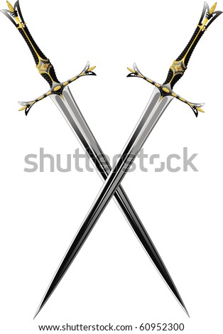 two crossed sword ornate steel swords. Raster Version - stock photo