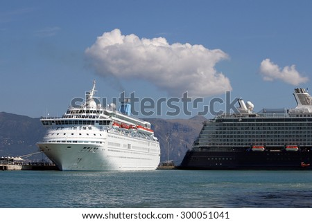 two cruiser ship in port Corfu island - stock photo