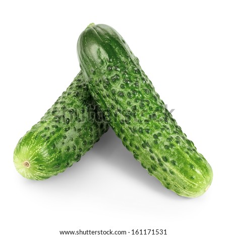 Two cucumbers isolated on white background