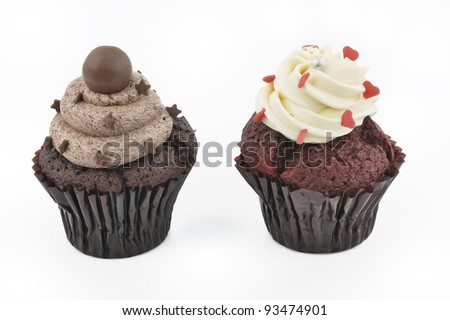 two cup cakes - stock photo