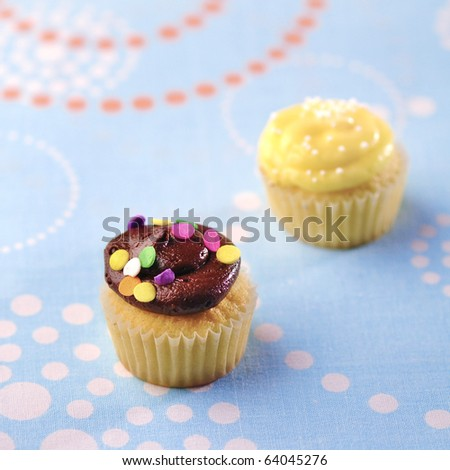 Two cup cakes on a bright background - stock photo