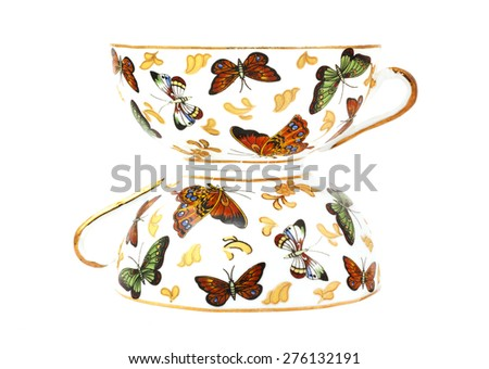 two cup of tea each other - stock photo