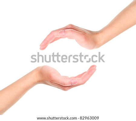 Two cupped hands isolated on white background - stock photo