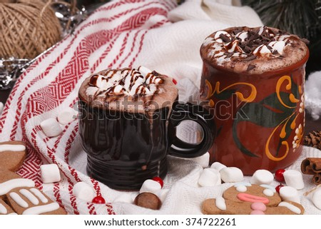 two cups of cocoa  - stock photo