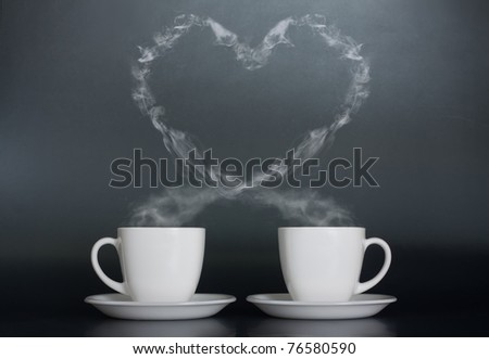Two cups of coffee with love - stock photo