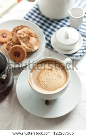 Two cups of espresso - stock photo