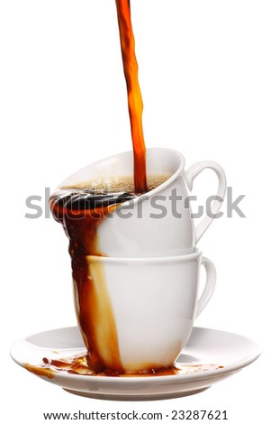 two cups of fresh steaming hot coffee - stock photo