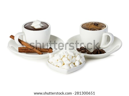 two cups of hot chocolate with marshmallow isolated - stock photo