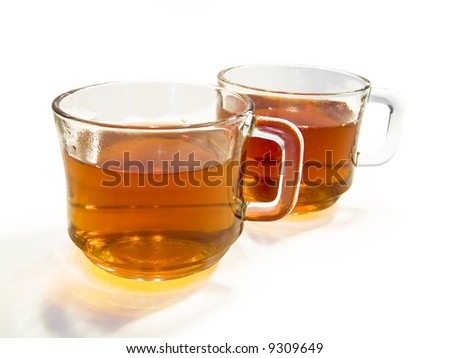 Two cups of tea isolated on a white background with clipping-path