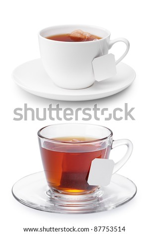 two cups of tea isolated on white - stock photo