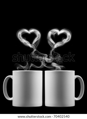 Two cups of tea with love - stock photo