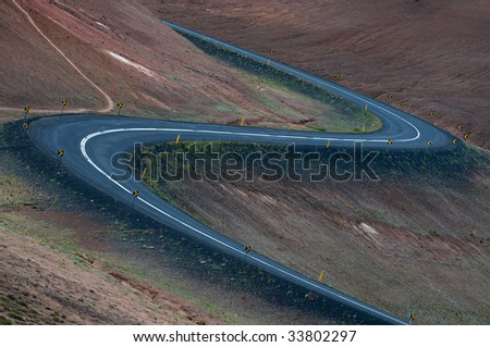 two curves on the road - stock photo