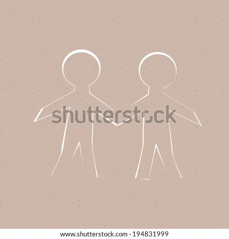 Two cut out of paper human, grunge background. - stock photo