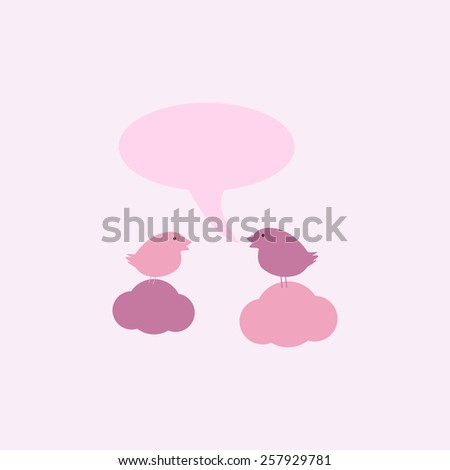 Two cute birds on sitting on clouds with speech bubble and space for you own text isolated on light pink background. For invitations, greeting cards, postcards - stock photo