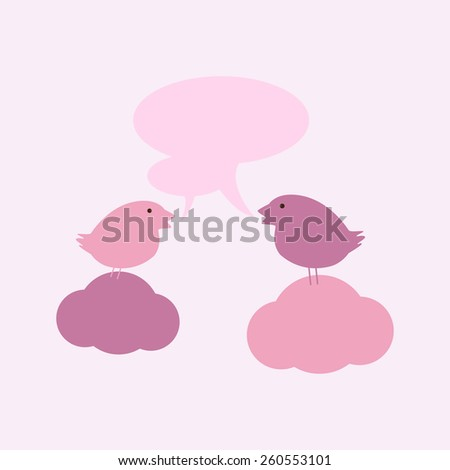 Two cute birds on sitting on clouds with two speech bubbles and space for you own text isolated on light pink background. For invitations, greeting cards, postcards - stock photo