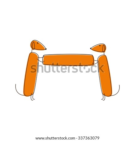 Two cute brown contoured foxy colored dachshunds holding banner - stock photo
