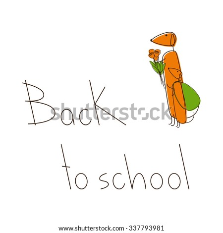 Two cute brown contoured foxy colored dachshunds. One with bouquet of flowers and puppy standing near with green backpack. Lettering Back to school isolated on white background - stock photo