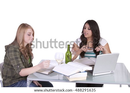 Two cute friends studying at their desks