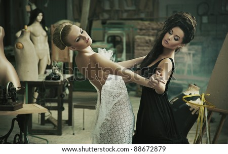 Two cute ladies dancing - stock photo