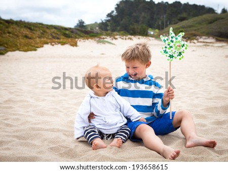 Two cute little brothers on a California beach  - stock photo