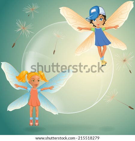 Two cute little fairy play with transparent soap bubble surrounded by dandelion seeds.  - stock photo